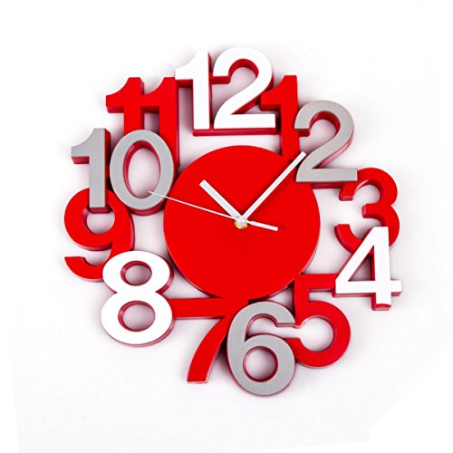 reloj de pared silencioso estilo moderno color rojo