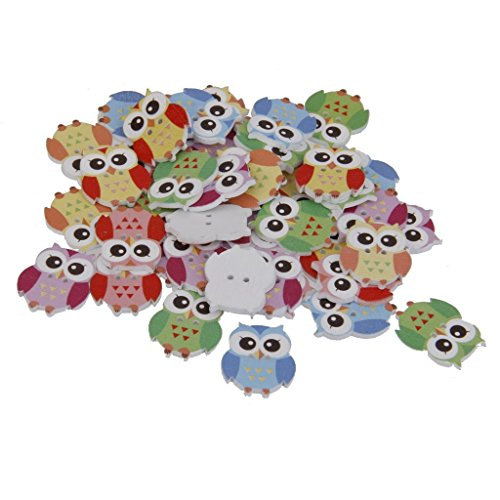 JER 50Stk Bunte Eule Buttons Multi Verwendung 2 Loch hölzerne nähende Knöpfe für Scrapbooking Weaving Mending ArtSupplies -