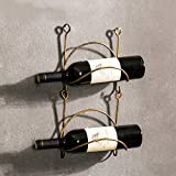 YANGMAN Weinflaschenregal, aus Schmiedeeisen, zur Wandmontage, rustikal, Dekoration für Zuhause, Gebogene Oberfläche (enthält Keine Weinflaschen), 2 Racks