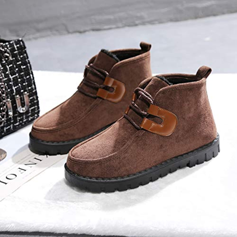Shukun Bottes de neige Bottes de Neige Femme Automne Pieds Pieds Automne Pieds Mous Flat Flat Head Head Noir Chaussures en Coton... 1b291e