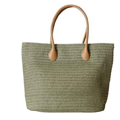 YOUJIA Damen Stroh Strandtaschen Tote Casual Reißverschluss Handtaschen Schultertaschen Armee Grün