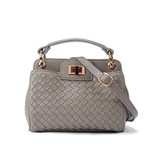 signore - borsa mini obliquo a sacchetto,black grigio chiaro
