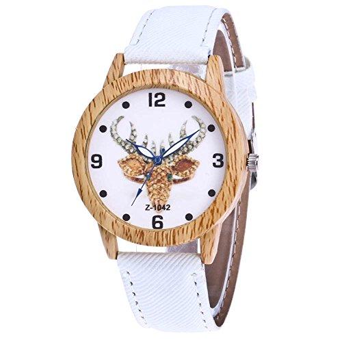duhr Halloween Stil Analoge Quary Uhr mit Batterie Holz Maserung Hirsch Muster Weiß (Halloween-uhr)