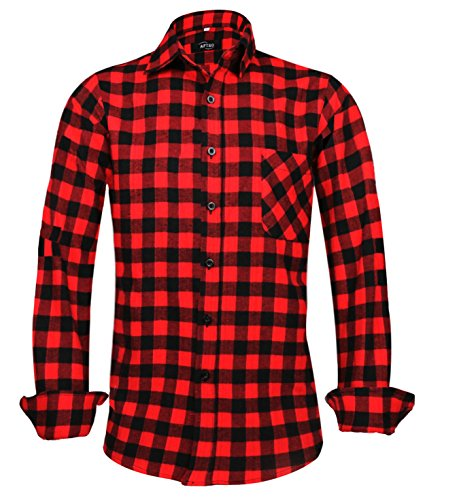 Men's Plaid Shirt Long Sleeve Business Checked Casual Shirt 056 S