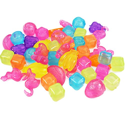 My-goodbuy24 Eiswürfel bunt wiederverwendbar 50 Stück Flamingo + Früchte + Würfel Eiswürfelform Party Kunststoff Dauereiswürfel