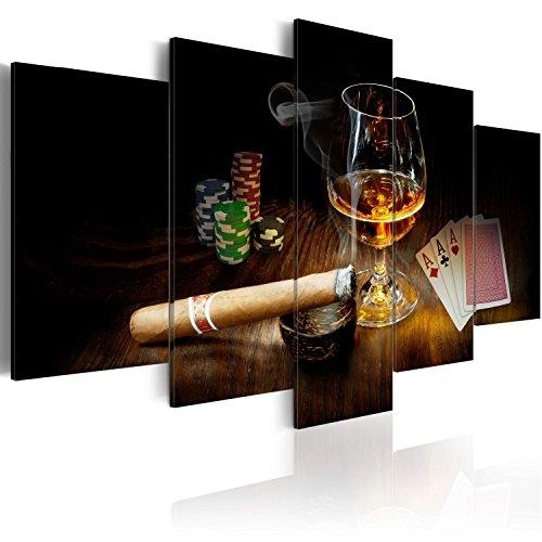 murando - Bilder 100x50 cm Vlies Leinwandbild 5 TLG Kunstdruck modern Wandbilder XXL Wanddekoration Design Wand Bild - Alkohol Zigarre Poker Whisky i-A-0101-b-n