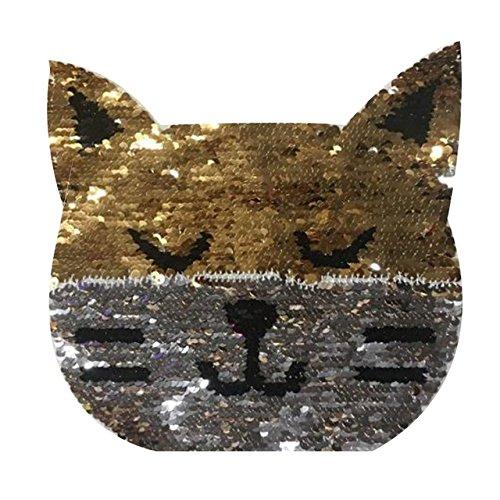 Katze Denim Shirt (Große Aufnäher Pailletten Katze für Jacken, Tank Tops, Shirts, Handtaschen, Scrapbooking Dekoration Ordner und Bücher 20cm Neuheit von Open Buy)