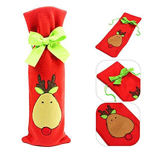 Natale bottiglia di vino borse decorazione del sacchetto di vino rosso con regalo grazioso cravatta di natale christmas party tree hotel kitchen table decor