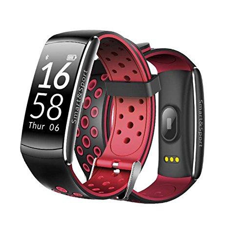 Fitness Armbänder mit Pulsmesser,Smart Fitness Tracker,Bluetooth Touchscreen Sport Aktivitätstracker Schrittzähler / Kalorienzähler /Anrufe/SMS Smartwatch LED Dimmbarer Dual-Wecker für damen/kinder/Herren