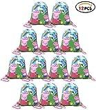 Qemsele Borse Festa per Bambini Borse Sacca 12 PCS, Zaino con Coulisse Sacchettini del per Bambini e Adulti Festa di Compleanno Bambini bomboniare Borsa Sacchetto Festa (Peppa Pig E)