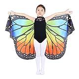 Dance Fairy Ángel Mariposa Alas Capa Disfraz de Baile Accesorio para Niños y Adultos,Arco Iris-S