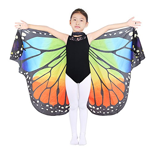 Dance Fairy Rainbow Mini Mantello Ali di Farfalla Venice Carnival Accessori Costume Cosplay Donna Bambini, Rainbow-Piccolo Adatto per 100cm-160cm