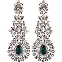 I Jewels 18k Rhodium Plated Austrion Diamond Sparkling Dangle Earrings for Women (E2101ZG))