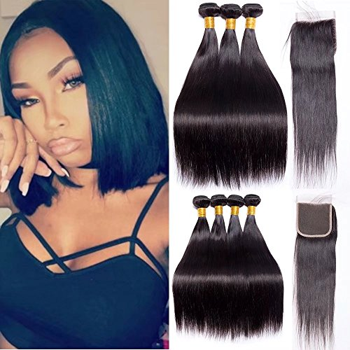 Maxine 9a Peruvian Straight Hair 3 Bundles With Closure (10 12 14+10inch) Unprocessed Virgin Remy Human Hair With 4x4 Free Part Closure Peruvian Virgin Hair Bundles With Closure Natural Color