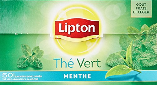 Lipton 3 boxes Green Tea with Mint Thé Vert Menthe in New Packaging 50 tea bags per box Total 150 teabags Imported