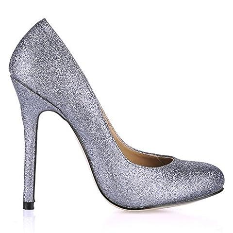 Geschmack die Feder runden Kopf fein high-heel Schuhe schwarz lackiert Leder Einzel Schuhe, dunkelgrau Golden (Dark Pink Suede Schuhe)