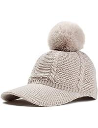Tukistore Berretto invernale lavorato a maglia da donna Cappellino in  pelliccia Pom Pom Berretto pompon con b13e3fd984bc