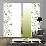 Home Fashion 94993 | 4er-Set Schiebegardinen Concord | blickdichter Dekostoff | grün | jeweils 245x60 cm