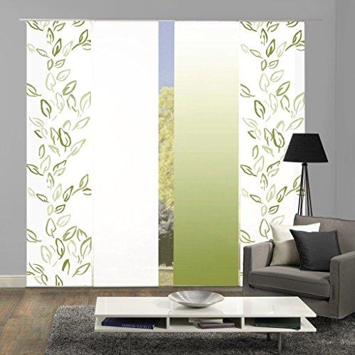 Home Fashion 94993   4er-Set Schiebegardinen Concord   blickdichter Dekostoff   grün   jeweils 245x60 cm