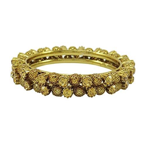 Bollywood banithani kada etnico-braccialetti bijoux tradizionali 2 x 6 regalo per le donne, fede, colore: oro, cod. kj2088b