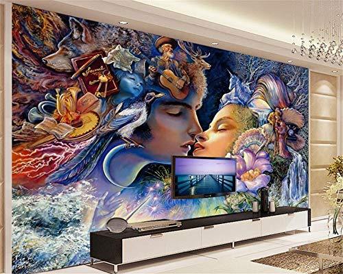 MuralXW Fototapete Indoor Tapete an der Wand hängen schöne männliche und weibliche Paar Ölgemälde TV Wand Papier Peint-450x300cm