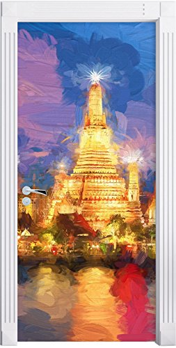 wat-arun-temple-night-view-bangkok-thailande-effet-art-brush-comme-mural-format-200x90cm-cadre-de-po