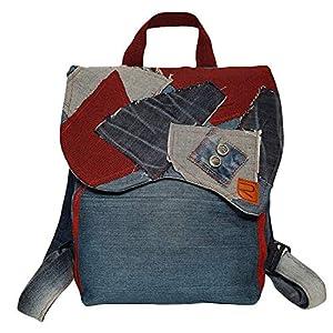 Rucksack aus recycelten Jeans mit roten Patches & verstellbaren Schulterriemen – 34 x 24 x 12 cm