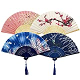 Ventilateurs Pliables,4 Pack Fans de Bambou Éventails Ventilateur Japonais Soie et Bambou Ventilateur avec Gland pour Décoration Mariage Danse Fête Faveur...