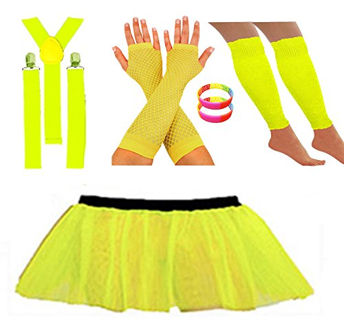 Neon Yellow (other colours available) Tutu Skirt Leg Warmers Fishnet Gloves Suspender Braces and Neon Wristbands  - Sizes 16 to 22