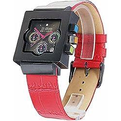 Jil Dore -Lancefield red- schwarze Herrenarmbanduhr / Herrenuhr mit rotem Lederarmband und echtem Diamanten im Zifferblatt