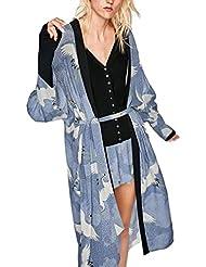 kimono largo flores mujer mujer Sannysis cardigans mujer larga elegante tops blouse chaquetas de mujer Imprimir Bohemia (azul, 2XL)