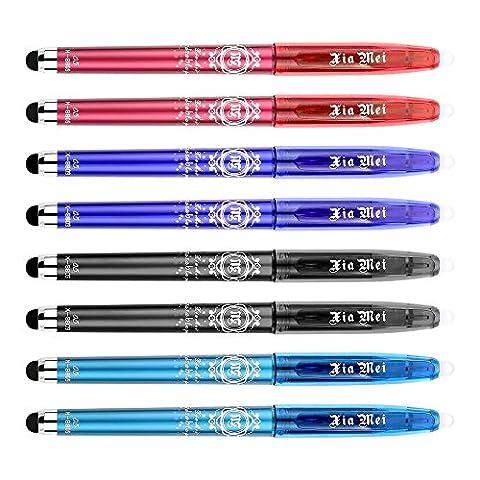INTS 0,5mm radierbar Gel Stifte mit Kondensator Pen, 8er Pack, Schwarz/Rot/Blau/Tief Blau Tinten Capacitor Erasable Pen A