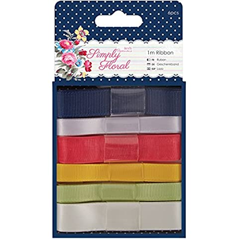 Papermania Simply Floral Ribbon-6 Styles/1M Each
