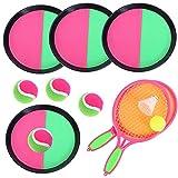 Vidillo Kinder Ball Spielen Spiel Set Paddel Tennis Spielzeug Ballwurf Fangen Sport Ball,Badminton-Set mit 2 Schlägern und 2 Bällen für Outdoor-Gartenspielzeug für Kinder