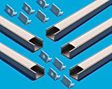 5X 2M LED gris profils 16x11 mm Profil 2 mètre profilé pour ruban LED réalisés en PVC