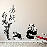 Wandora W1371 Wandtattoo 2 Pandabären mit Schilf Silbergrau (BxH) 81 x 80 cm