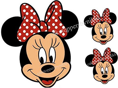 essbar rot Schleife Minnie Mouse Face & 2kleinere Gesichter Mädchen ungeschliffen Tortenaufleger