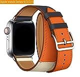 Vandarui Compatible avec pour Watch Bracelet 38mm Series 3/Series 2/Series 1 Double Tour Bracelet de Remplacement en Cuir Véritable Bracelet de Montre Band Strap (38mm, Double Tour Orange)