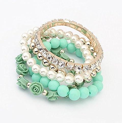 Kaiki 1 Set Acrylic Rose Flower Round Pearl Shining Rhinestone Crystal Elastic Bracelet (Green)
