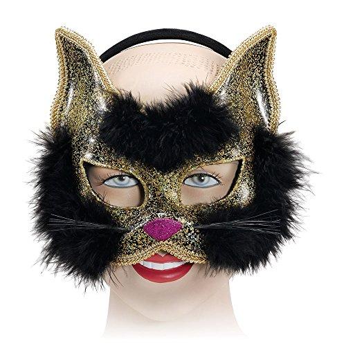 Bristol Novelty EM191 Katze Augenmaske, Schwarz, Damen, Einheitsgröße - Maske-renaissance Kostüm Zubehör