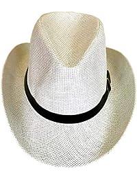 b8126e74125 SYNC WITH STYLE Men Women Unisex Western Straw Cowboy Hat Beach Cap Wide  Brim Church Cap Fedora Trilby Sun Hat Gambler Hat with…