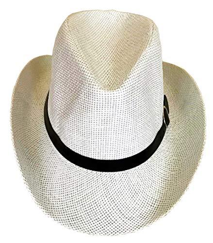 SYNC WITH STYLE Sombrero Vaquero De Paja Unisex para Hombres Y Mujeres, Sombrero Playero con ala Ancha, Sombrero para El Sol, Sombrero De Apostador con Detalles En Cuero Blanco
