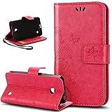 Nokia Lumia 635 Hülle,Nokia Lumia 630 Hülle,Malerei Schmetterling Muster PU Lederhülle Flip Hülle Cover Schale Ständer Etui Karten Slot Wallet Tasche Case Schutzhülle für Nokia Lumia 630/635,Rose Red