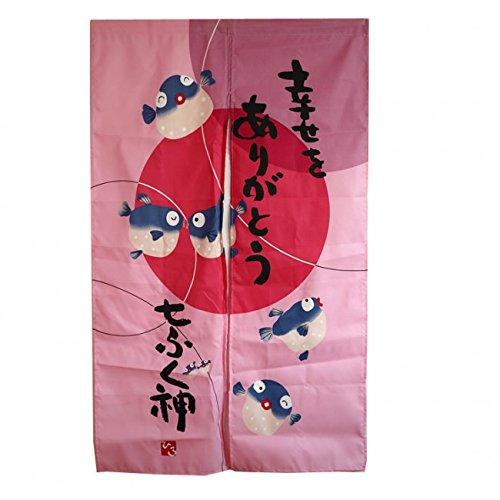 NOREN Rideau JAPONAIS - Motif Poisson FUGU - Décoration Zen