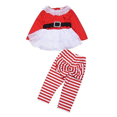 Déguisement Père Noël Vêtements pour Bébé Fille, 2 Pièce Costume et Pantalon Ensemble Combinaison, Taille 1-2 ans(L)