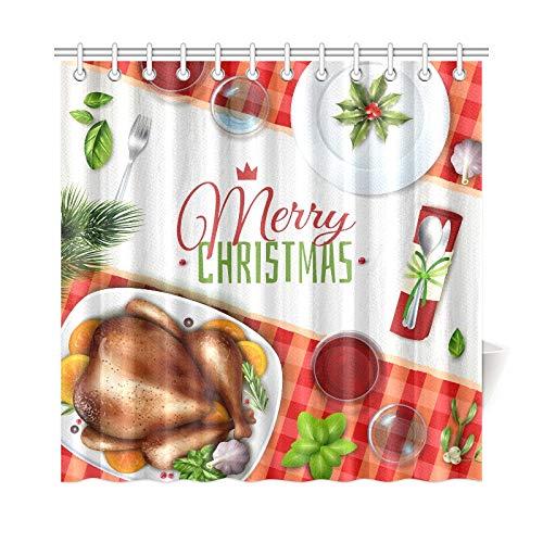 YSJXIM Home Decor Bad Vorhang Farbige Realistische Türkei Weihnachten Abbildung Festliche Polyester Stoff Wasserdicht Duschvorhang Für Bad, 72 X 72 Zoll Duschvorhänge Haken Enthalten