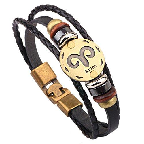 Bellelove 12 Bracelet Constellations Bracelet Bijoux De Mode Bracelet en Cuir Personnalité Bracelet Bijoux Bracelet Bracelets & Bracelets Bracelets Chase en Argent (A)