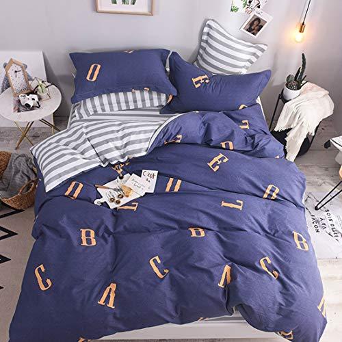 Klerokoh Einfache Baumwoll-Reaktivdruck- und -färbungs-Baumwollbettwäsche (Design : Blue Letters, Size : Queen) -