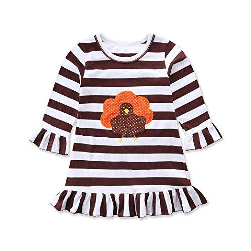 Happy Thanksgiving Kleinkind Baby Mädchen Türkei Print Kleid Streifen Sommerkleid Outfit (Coffee, 110) (Baby Outfit Türkei)