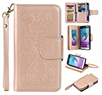 Galaxy J3 2016 Case, BoxTii® Premium Leather Wallet Case with [Free Tempered Glass Screen Protector] [Lanyard Strap/Rope] and [Card Slots] for Samsung Galaxy J3 2016, Shockproof Protect Cover and Magnetic Flip Case for Samsung Galaxy J3 2016 (#7 Champagn
